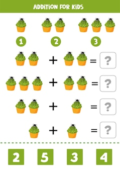Addition with cute halloween cupcake decorated with spider. educational math game for kids. learning to add objects.