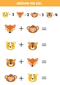 Addition with different animal faces educational math game for kids