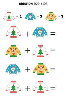 Addition with different christmas ugly sweaters. educational math game for kids.