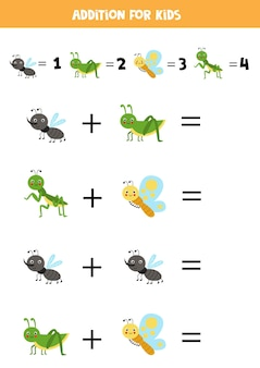 Addition with different cute insects. educational math game for kids.