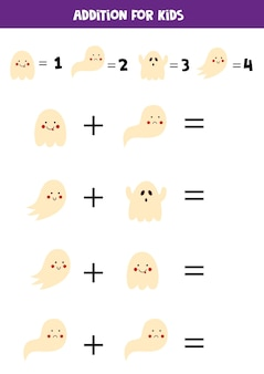 Addition with different halloween ghosts. educational math game for kids.
