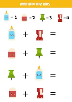 Addition with different school supplies. educational math game for kids.