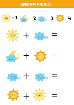 Addition with different weather elements. educational math game for kids.