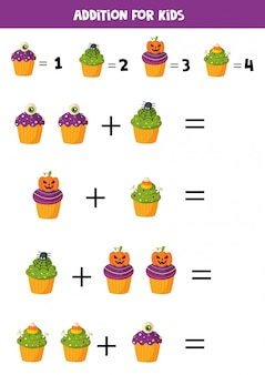 Addition with funny halloween cupcakes. math games.