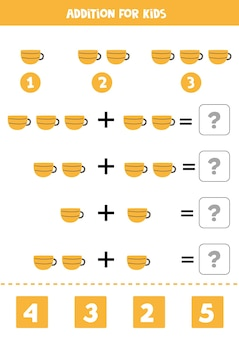 Addition with kitchen teacup. educational math game for kids.