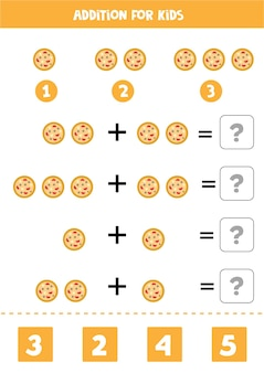 Addition with round pizza. educational math game for kids.
