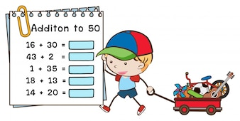 Addition worksheet with boy and wagon