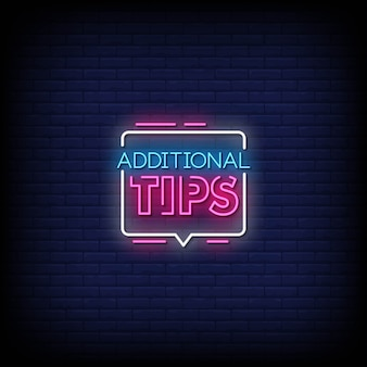 Additional tips neon signs style text