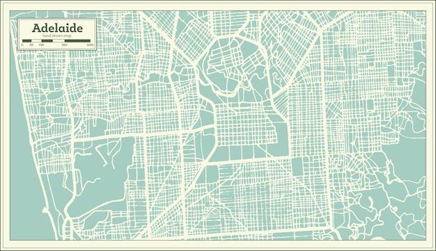 レトロなスタイルのアデレードオーストラリアの都市地図。白地図。ベクトルイラスト。