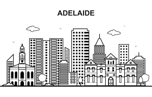 Контур линии горизонта города аделаиды, австралия, австралия