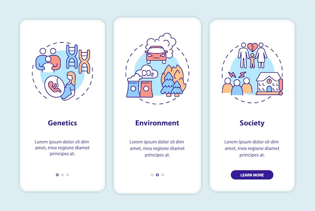 Adhd causes onboarding mobile app page screen. genetics and environment walkthrough 3 steps graphic instructions with concepts. ui, ux, gui vector template with linear color illustrations