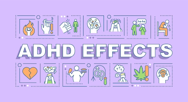 Adhd effects word concepts banner. mood swings. poor self-control. infographics with linear icons on purple background. isolated creative typography. vector outline color illustration with text