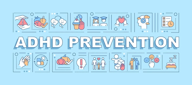 Adhd prevention word concepts banner. cognitive behavioral therapy. infographics with linear icons on blue background. isolated creative typography. vector outline color illustration with text