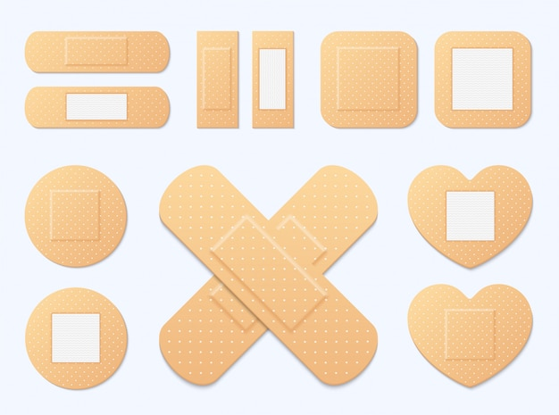 Adhesive bandage elastic medical plasters set. illustration of medical plaster, elastic bandage patch