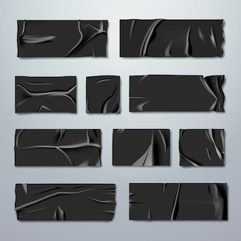 Adhesive or masking tape set. black rubber insulating tape with folds with ripped edges isolated on background. fixation or gluing. repair or packaging theme. stationery. realistic illustration