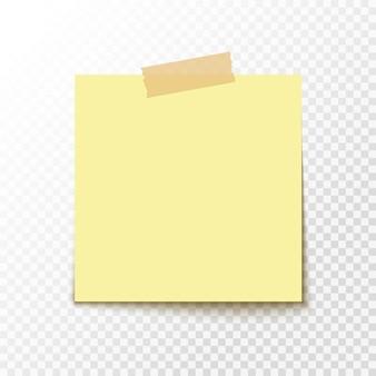 Клейкая наклейка для заметок. чистый офисный документ для уведомления. пустой бумажный стикер.