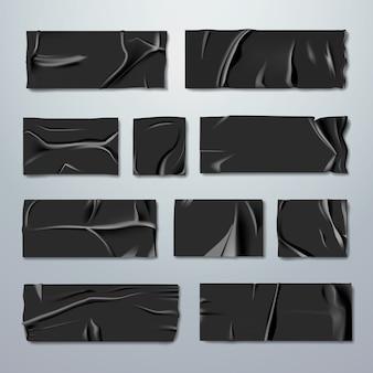 Набор клея или малярной ленты. черная резиновая изолента со складками с рваными краями, изолированные на фоне. фиксация или приклеивание. тема ремонта или упаковки. канцтовары. реалистичная иллюстрация