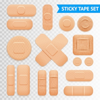 Adhesive plaster strips set