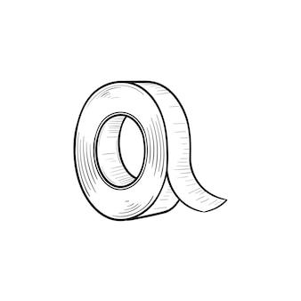 접착 테이프 손으로 그린 개요 낙서 아이콘입니다. 인쇄, 웹, 모바일 및 흰색 배경에 고립 된 인포 그래픽에 대 한 접착 테이프 벡터 스케치 그림의 롤. 프리미엄 벡터