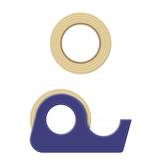 Adhesive tape in plastic dispenser, scotch. tools for education and work.