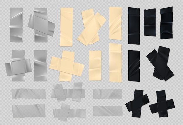 Adhesive tape. realistic sticky black silver and paper pieces of old duct tape with rough edges. vector set of scotch torn strips for masking injury