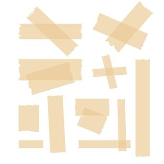 접착 테이프 세트. 라벨 접착 스트립 조각. 스틱 찢어진 테이프 디자인.