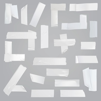Adhesive tape various pieces realistic vector set