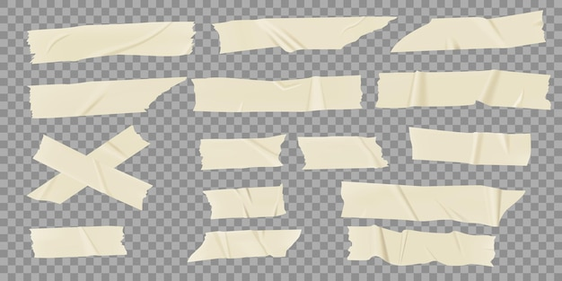 Adhesive tapes realistic masking pieces wrinkled sticky strip scotch with torn edges set