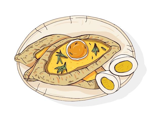 アジャランはハチャプリを開きます。伝統的なジョージア様式のボート型のパイ。チーズと生卵とバターをトッピング。白人料理の美味しい食事