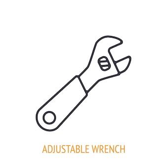 Разводной гаечный ключ или значок наброски гаечного ключа ручные рабочие инструменты векторная иллюстрация