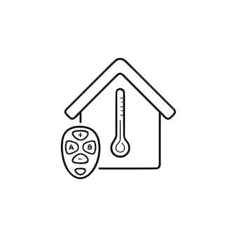 스마트 홈 온도 원격 손으로 그린 개요 낙서 아이콘을 조정합니다. 홈 자동화 시스템 개념입니다. 인쇄, 웹, 모바일 및 흰색 배경에 인포 그래픽에 대한 벡터 스케치 그림.