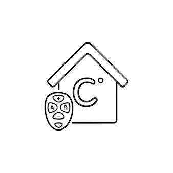 スマートハウスの温度を調整する手描きのアウトライン落書きアイコン。スマートホームオートメーション技術の概念