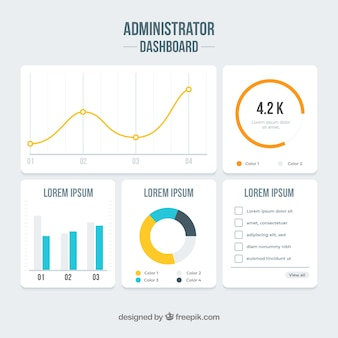 Admin app dashboard in flat style