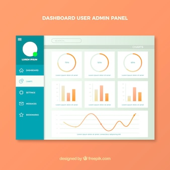 Admin dashboard panel with gradient style