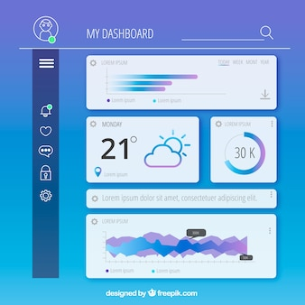 Admin dashboard template with flat design