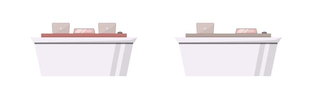 Набор плоских цветных объектов администрирования. информационная стойка холла отеля для поддержки клиентов. современный администратор стол изолированный мультфильм