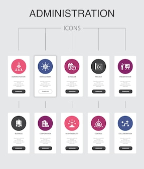 Administration infographic 10 steps ui design.management, schedule, presentation, ñorporation  simple icons