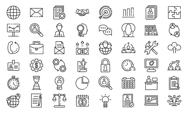Administrator icons set, outline style