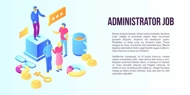 Administrator job concept banner, isometric style