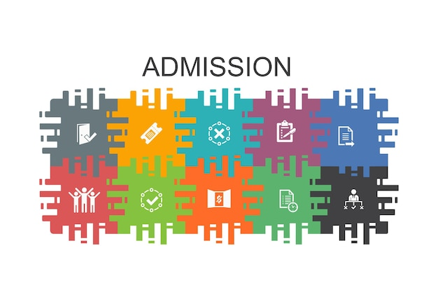 Admission cartoon template with flat elements. contains such icons as ticket, accepted, open enrollment, application