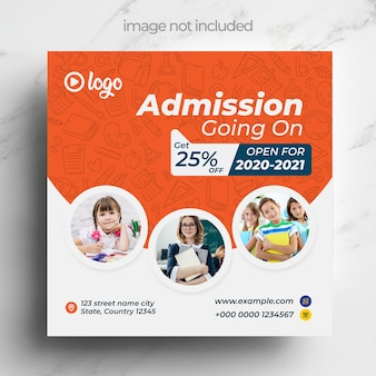 Admission going on, square template for instagram