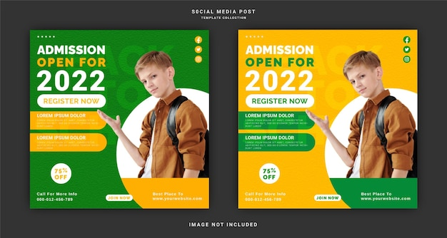 Admission for open 2022 social media post template