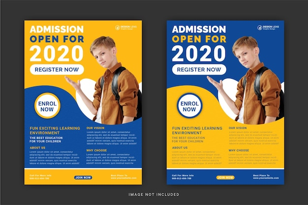 Admission for open editable flyer design template