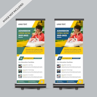 Admission open rollup banner design template back to school