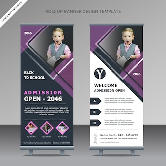 Admission open rollup xbanner design template back to school, organized layer
