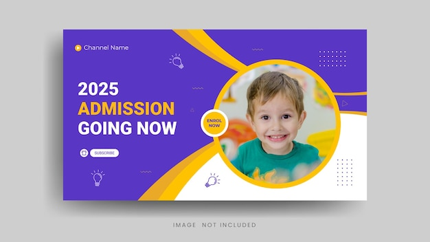 Admission youtube thumbnail or video cover template premium vector