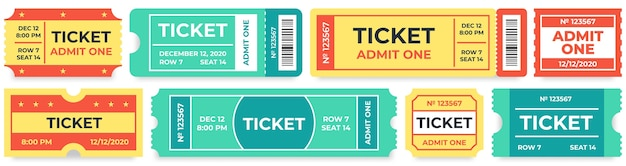 Admit one tickets. circus entries coupon, retro cinema ticket and movie entrance coupons