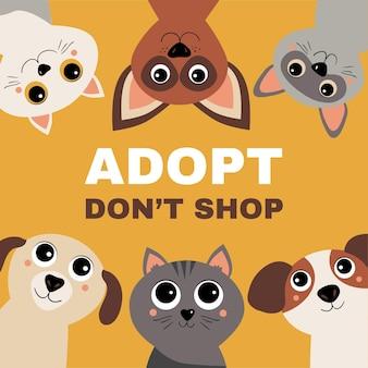 고양이와 개를 가진 애완 동물 개념을 채택하십시오