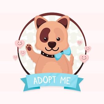 귀여운 강아지와 애완 동물 개념을 채택