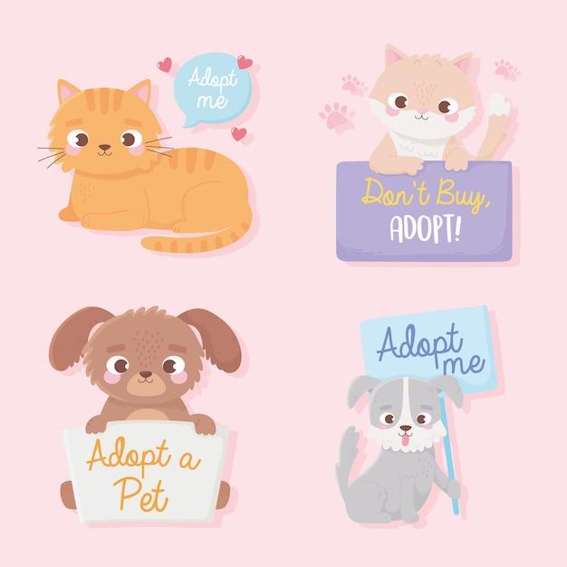 보드 레터링 일러스트와 함께 애완 동물, 귀여운 강아지 및 고양이 동물을 입양하십시오.